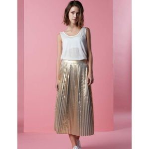 Pleated, Metallic calf-length Skirt H&M Sz 36 ✨